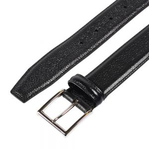 CROCKETT & JONES BELT BLACK GRAIN