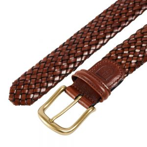 CROCKETT & JONES BELT DARK BROWN WOVEN