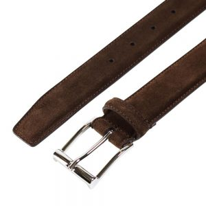 CROCKETT & JONES BELT DARK BROWN SUEDE
