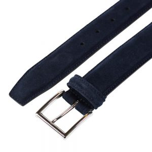 CROCKETT & JONES BELT NAVY SUEDE