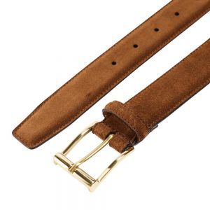 CROCKETT & JONES BELT TOBACCO SUEDE